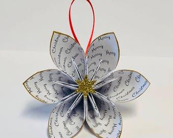Christmas ornament - origami paper ornament - gift idea - paper ornament - gold glitter