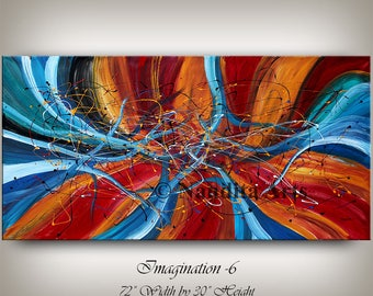 """Painting 72"""" Abstract Large Wall Art Blue Contemporary Art Original Painting on Canvas, Wall Hanging by Nandita Albright"""