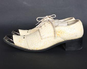 Italian Snake Pattern Leather shoes, Men's Oxfords Wedding Dress Shoes metal Lace Up heels 4,5 cm, groom accessories 41 EU, 8 US, 7'5 UK