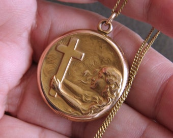 Vintage 1930s Religious Locket Necklace. Repousse Locket. Christian Jewelry. Girl Holding Up Cross In Storm   'Take Up Your Cross'   A&Z Co