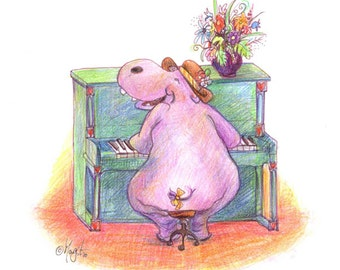 Watercolour Pencil Drawing - Animal Art - Hippo plays Piano Wall Print – New Baby Gift – Music Lover Print – Cute - Whimsical Art #0764