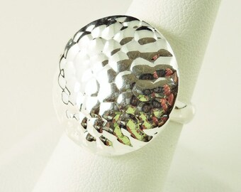 Size 8 Sterling Silver Hammered Dome Ring