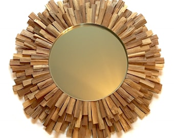 Large Mirror Light Wood Sunburst Mirror, Original MADE to ORDER