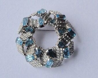 Vintage Emerald Cut AQUA BLUE And White Crystals Brooch Pin