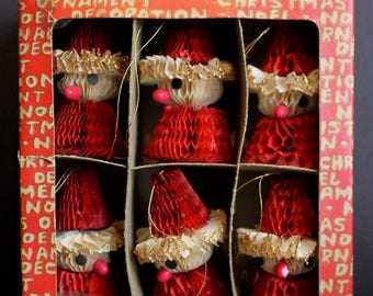 6 Vintage Honeycomb Santa Ornaments // Retro Christmas // Vintage Ephemera // Made in Japan Original Box