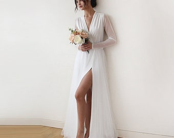 Ivory Tulle Wedding dress, Ivory Tulle wedding Gown, Long Sleeves wedding Dress, Floor Length Wedding Dress, Floor Length Wedding Dress 1174
