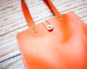 Orange Leather Tote Bag - Special Limited Edition