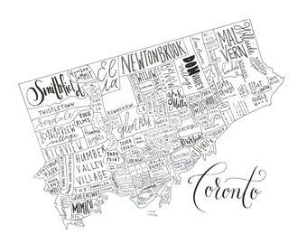 Toronto Neighborhood Map - Handlettered & Printed