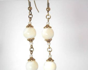 Pearl Earrings, antique gold - romantic Collection