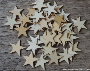 50 Small 1 inch Mini Wood Stars, Wood Confetti - Rustic Wedding Decor- Table Decorations- Wooden Stars-  DIY Craft Supplies 25mm Flag Making