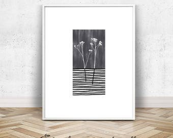 Wildflower Art Print | Geometric Home Decor | Geometric Print Black and White Flower Wall Print | 8x10 Black Grey Minimalist Art Poster