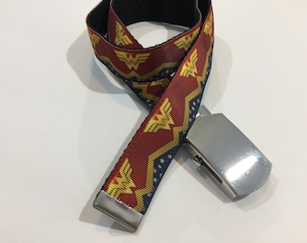 "Wonder Woman Belt in All Sizes with a Military Buckle 1"" Wide"