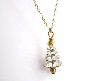 Christmas Necklace, Silvery White and Gold Christmas Tree Necklace, Swarovski Gold Filled Tree Pendant Necklace, Gift for Her