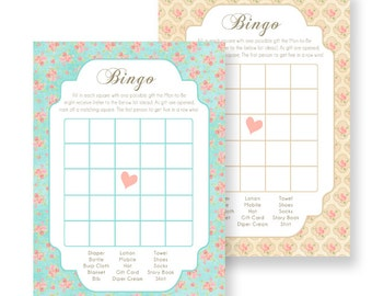 Chabby Chic Vintage Flower - Bingo printable card game-  For Baby Shower- Teal, Coral and cream INSTANT DOWNLOAD