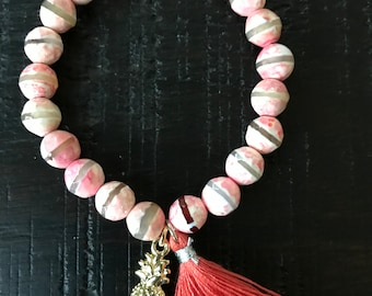 Pineapple Dyed agate bracelet
