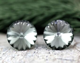 11mm Black Diamond Swarovski Stud Earrings,Gray Swarovski Stud Earrings Bridesmaid Wedding Earrings Gift Jewelry,Simple Studs,Gift for Women