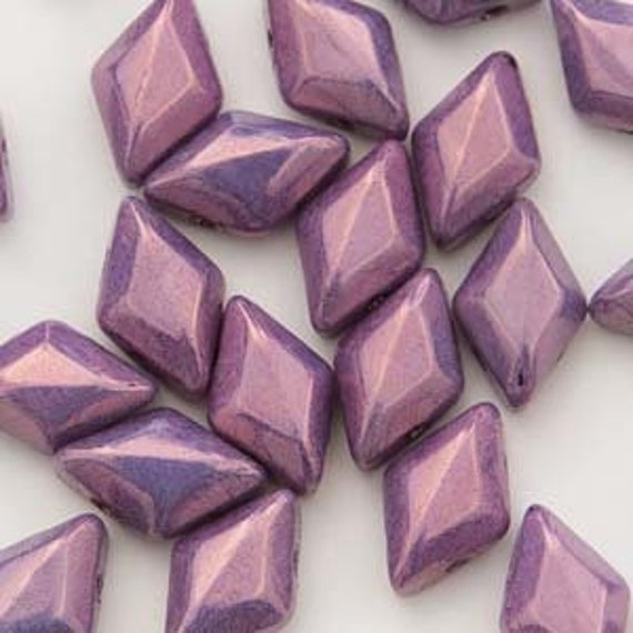 Chalk Vega Purple 8 x 5mm GemDuo bead Approx 8g
