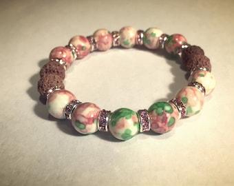 Aromatherapy Bracelet / Diffuser Bracelet ~ RainFlower Ocean Jade in pink/green