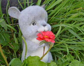 OOAK Needle Felted Sculpture chinchilla, cute toys, toy of wool, original gift, handicraft, felted animals, eco