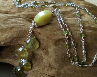 """GREEN GARNET Faceted Drops, Jade, Handmade Chain w/TOURMALINE Faceted Coins into this Beautiful """"Y"""" Necklace"""