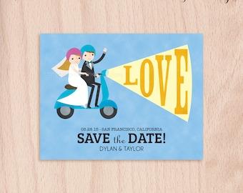 Custom Bride & Groom Moped Wedding Save the Date Card - Postcard
