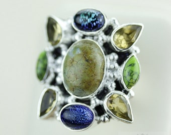 SIZE 4 Turquoise DICHROIC Glass Citrine 925 Solid Sterling Silver RING & Free Worldwide Shipping R1680