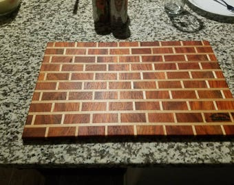 "Hand crafted brick wall cutting board Paduk and Maple 17 1/4"" x 11"" x 5/8"""
