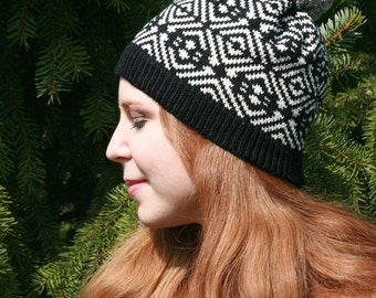 Spring Fall Autumn Hat, Traditional Ancient Iron Age Fair Isle Beanie, Customized Beanie, Gift for Her, Unique Gift, Card Weaving, MBW