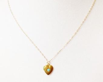 Tiny locket necklace, brass locket necklace, heart locket necklace, tiny jewelry, minimalist necklace, gold locket necklace, delicate