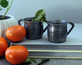 Vintage Norwegian Pewter Cream and Sugar by Wiik Norway Mid Century Modern Scandinavian Decor