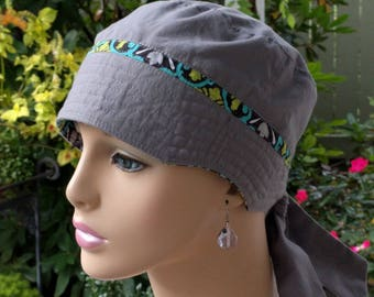 Women's Chemo Hat Cancer Caps Cotton  Chemo Cap Adjustable and Reversible MEDIUM