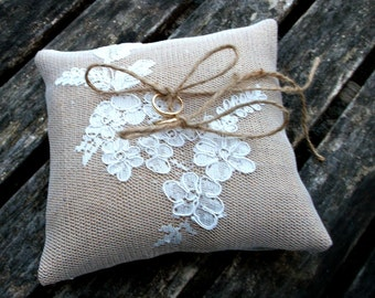 Ring Bearer Pillow wedding cushion Natural Burlap/ Hessian and ivory lace