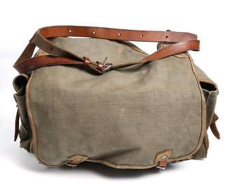 Distressed Canvas Leather Military Bag, Green Messenger Crossbody Bag, 70s Canvas USSR Haversack, Messenger Crossbody Bag