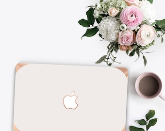 Macbook Pro 13 Case Macbook Air Case Laptop Case Macbook Case . Cream with Rose Gold Chrome Edge            - Platinum Edition