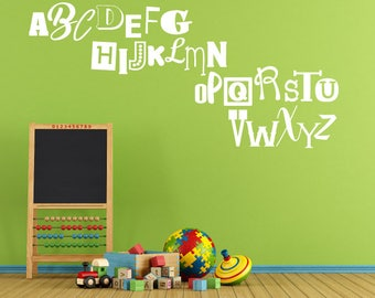 Alphabet Vinyl Wall decal, ABC's wall art, Vinyl wall decal, Play Room Decor, Nursery Wall art, Daycare Gift for Teacher, Classroom Supplies