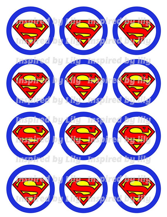 Descargar Instant Toppers De Cupcake De Superman Superman
