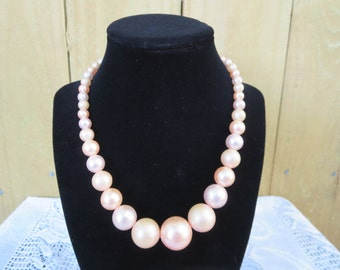 Vintage Faux Pearl Necklace, Pink Faux Pearl Necklace, Vintage Jewelry, Adjustable Pink Necklace, Vintage Costume Necklace, Pastel Pink