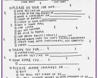Resistance Postcards/ Write to Congress/ Elected Representative Checklist