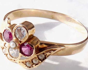 Vintage Synthetic Ruby, White Sapphire & Seed Pearl Set Cluster Ring