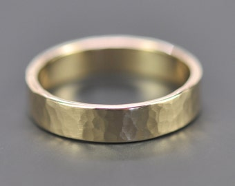 Mens 14K Yellow Gold Wedding Band, 5mm Hammered Gold Ring, Matte Finish, Sea Babe Jewelry