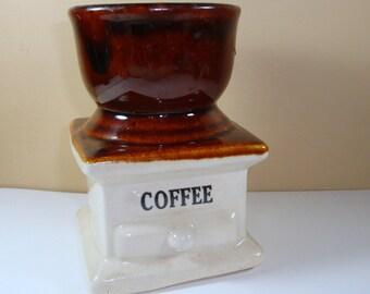 Vintage Planter Coffee Grinder, Kitchen Decor, Ceramic Container, Indoor, Brown, Novelty Flower Pot, Potted Plants  (483-12)