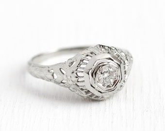 Filigree Engagement Ring - Vintage 14k White Gold Art Deco .13 CT Diamond Solitaire - 1920 Size 6 1/4 Antique Floral Flower Fine Jewelry