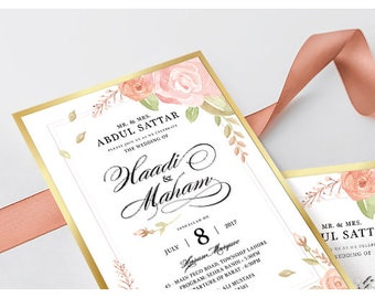 SCD001P Floral Wedding Invitation with Lace and Name Ribbon
