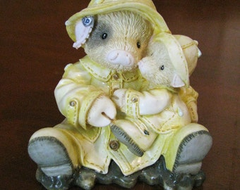 "Enesco ""This Little Piggy""  figurine by artist Mary Rhyner-Nadig  "" Showering you with Hogs"""