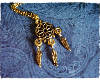 Gold Dreamcatcher Necklace - Antique Gold Pewter Dreamcatcher Charm on a Delicate Gold Plated Cable Chain or Charm Only