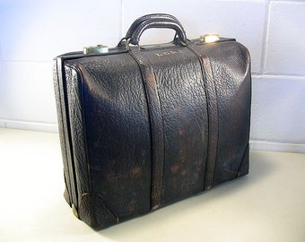 Vintage Brown Leather Briefcase Hipster Style Case or Bag for the Office Professional or Executive by Dresner