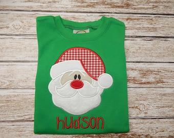 Boy's SANTA shirt; Boy's Christmas shirt; Green shirt for Christmas; Santa; SHIPS 3-5 days