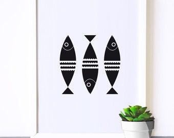 Modern nursery art, nursery poster, monochrome print, black and white poster, scandinavian print, kitchen wall art, fish