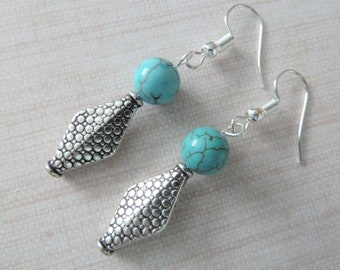 silver plated handmade turquoise earrings, uk jewellery