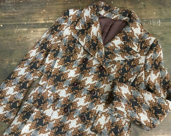 Hounds-Tooth Check Ladies Coat